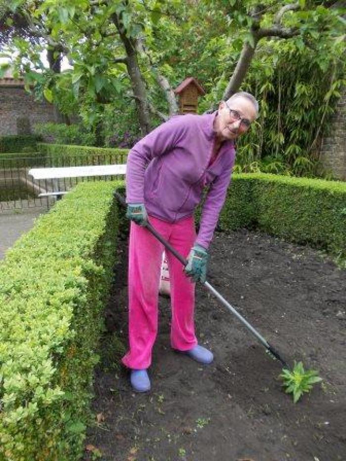 Buurtbewoonster aan de slag in de warme tuin Engelendale